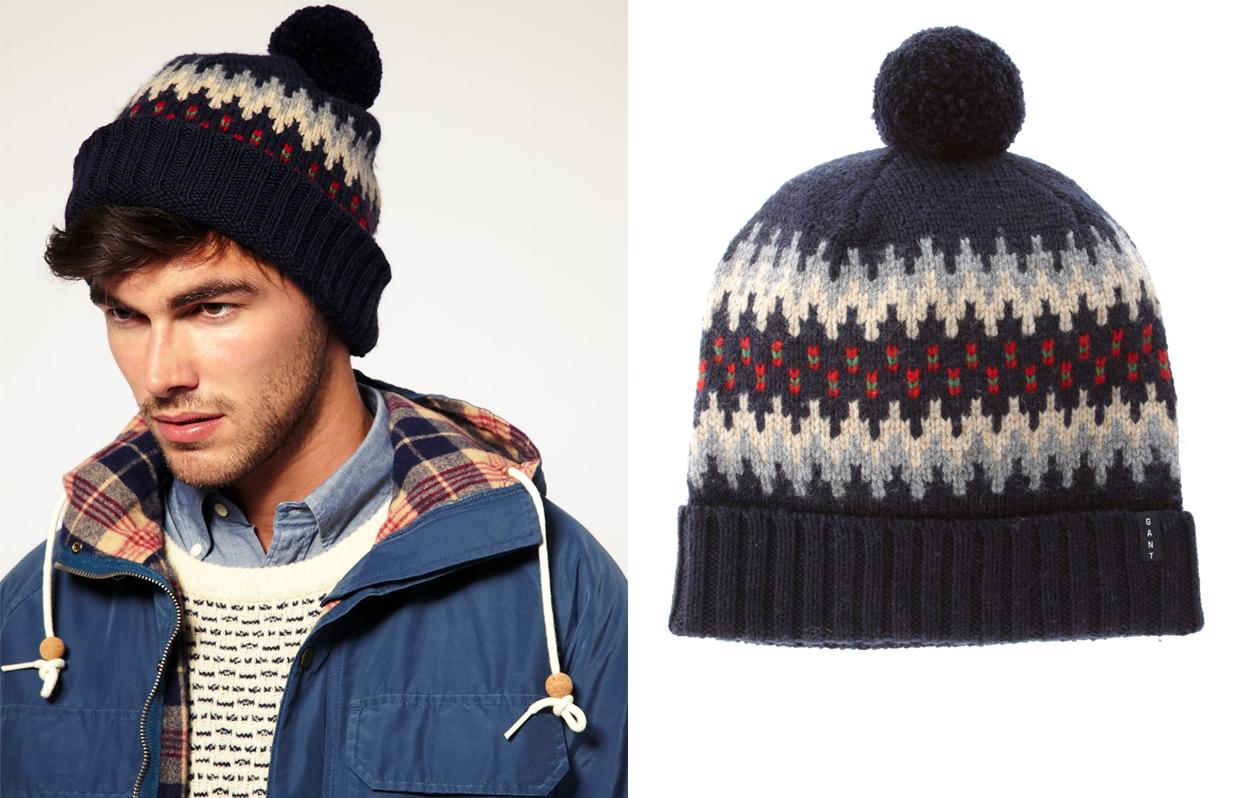 схемы вязания простых мужских шапок