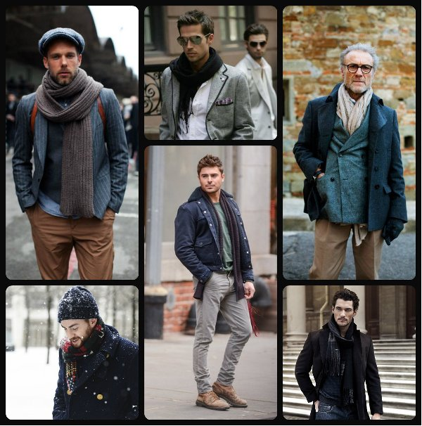 мужчины в шарфах